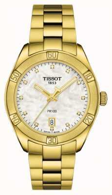 Tissot | pr 100 | vergoldetes Edelstahl | Perlmuttzifferblatt T1019103311601