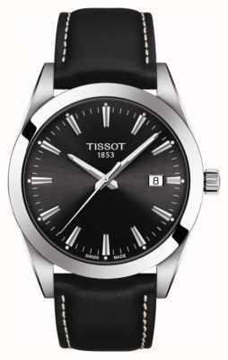 Tissot Gentleman | schwarzes Lederband | schwarzes Zifferblatt | T1274101605100