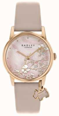 Radley Botanische Blumen | nacktes Lederband | rosafarbenes Blumenzifferblatt | RY2884