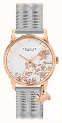 Radley Botanische Blumen | silbernes mesh armband | weißes florales Zifferblatt RY4399