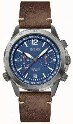 BOSS | Herrennomade | braunes Lederband | blaues Zifferblatt | 1513773