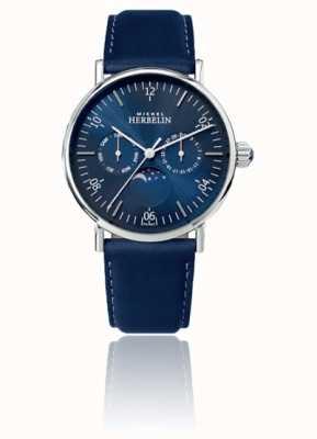 Michel Herbelin Montre Inspiration Mondphase Edelstahl blau Lederband 12747/AP15BL