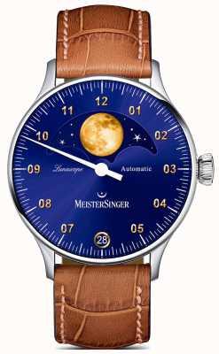 MeisterSinger Lunascope | blaues Zifferblatt | braunes Lederband LS908G