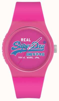 Superdry Urban original | rosa silikonarmband | pinkes Zifferblatt | SYL280PU