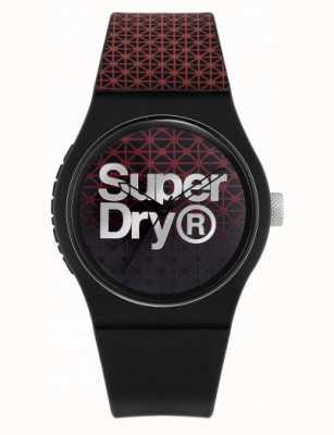 Superdry Urban Geo Sport   schwarz / rotes silikonband   schwarz / rotes Zifferblatt SYG268R
