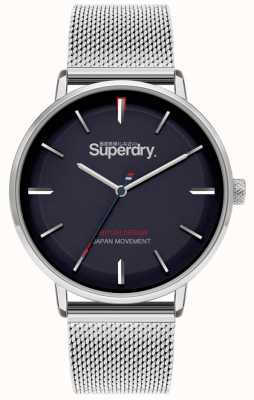 Superdry Ascot xl | Silber-Mesh-Armband | blaues Zifferblatt | SYG284SM