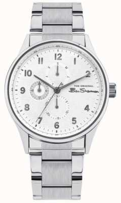 Ben Sherman Herren Edelstahl Silber Armband | weißes Multi Zifferblatt | BS021SM