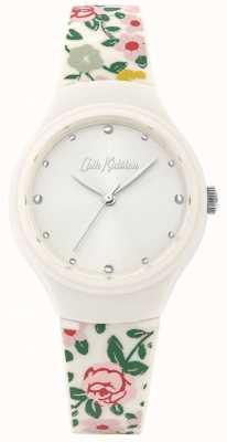 Cath Kidston Damen Armband aus cremefarbenem floralem Silikon | weißes Zifferblatt | CKL086W