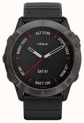 Garmin Fenix 6x pro Saphir | kohlenstoffgrau dlc | schwarzes Kautschukband 010-02157-11