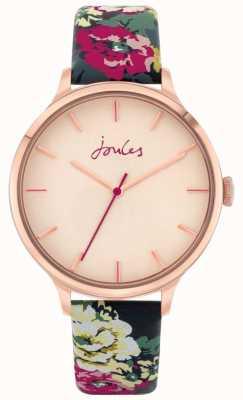 "Joules ""30. Jahrestag"" | floraler Lederband | Rose Zifferblatt | JSL028UPRG"