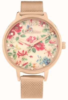 Cath Kidston Pembroke Rose | Roségold-Mesh-Armband | floral zifferblatt | CKL085RGM