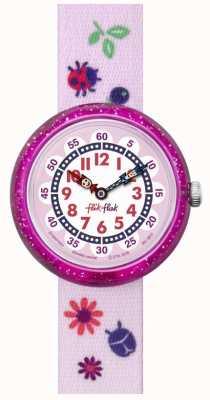 Flik Flak | Herbstfarben | rosa bedrucktes Armband | weiß/rosa Zifferblatt | FBNP093