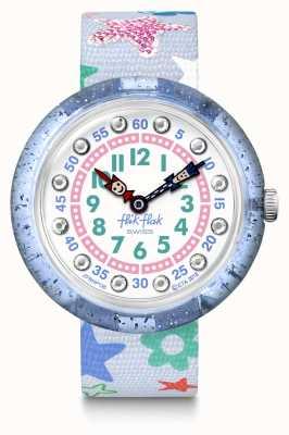 Flik Flak | stafetti | graues Stoffarmband mit Sternendruck | blau/weißes Zifferblatt FBNP136