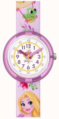 Flik Flak | Disney Rapunzel | pinkes bedrucktes Armband | weißes Zifferblatt | FLNP028