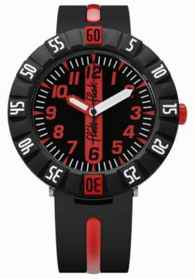 Flik Flak | rot voraus | schwarzes Kunststoffband | schwarz / rotes Zifferblatt | FCSP079