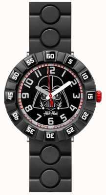 Flik Flak | Star Wars Darth Vader | schwarzes Kautschukarmband | schwarzes Zifferblatt FFLP005