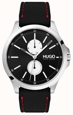 HUGO #springen | schwarzes Kautschukband | schwarzes Zifferblatt | 1530001