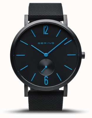 Bering | wahre Aurora | schwarzes Kautschukband | schwarzes Zifferblatt | blaue Hände 16940-499