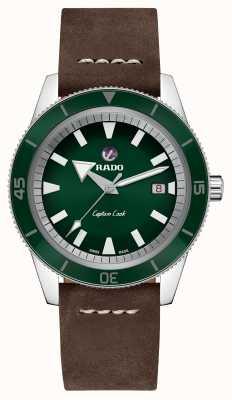 RADO Xl 'Captain Cook' braunes Lederarmband grünes Zifferblatt R32505315