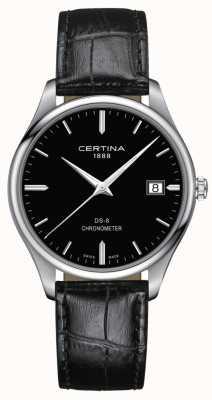 Certina Ds-8 Chronometer | schwarzes Lederband | schwarzes Zifferblatt | C0334511605100