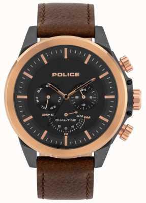 Police | Männer Belmont | braunes Lederband | schwarzes Zifferblatt | 15970JSUR/02