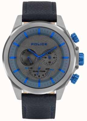 Police | Männer Belmont | blaues Lederband | blau / graues Zifferblatt | 15970JSU/61