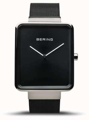 Bering | Herrenklassiker | schwarzes mesh armband | schwarzes Zifferblatt | 14533-102