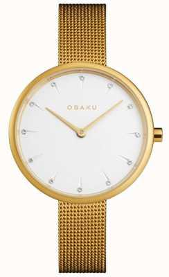 Obaku | frauen notat gold | goldgeflecht armband | weißes Zifferblatt | V223LXGIMG