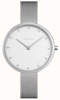 Obaku | damen notat stahl | silbernes mesh armband | weißes Zifferblatt | V233LXCIMC