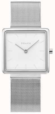 Obaku | Frauen Kvadrat Stahl | silbernes mesh armband | weißes Zifferblatt V236LXCIMC
