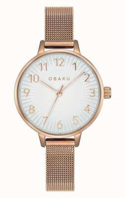 Obaku | Frauenspritze Rose | Roségold-Mesh-Armband | weißes Zifferblatt V237LXVIMV