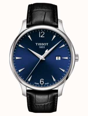 Tissot | Herrentradition | schwarzes Lederband | blaues Zifferblatt | T0636101604700
