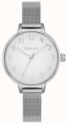 Obaku | Frauen syren Stahl | silbernes mesh armband | silbernes Zifferblatt | V237LXCIMC