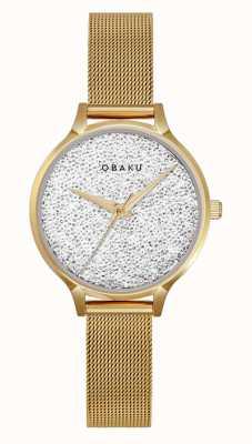 Obaku | frauen st jerner gold | goldgeflecht armband | Kristallzifferblatt V238LXGWMG