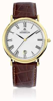 Michel Herbelin Klassisches | braunes Herren Lederband 12248/P01MA