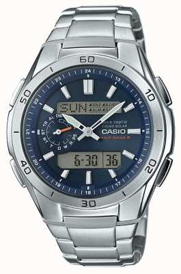 Casio Mens Wave Ceptor blaues Zifferblatt aus Edelstahl WVA-M650D-2AER