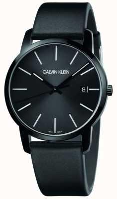 Calvin Klein | Männerstadt | schwarzes Lederband | schwarzes Zifferblatt | K2G2G4CX