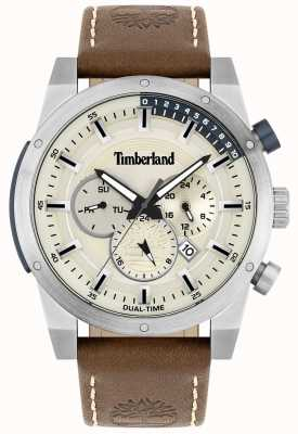 Timberland Outdoor-Sucher | braunes Lederband | silbernes Zifferblatt | 15951JS/04