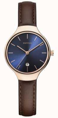 Bering | Frauenklassiker | braunes Lederband | blaues Zifferblatt | 13328-567