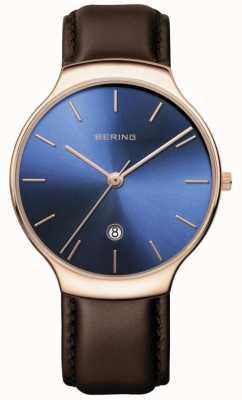 Bering | Frauenklassiker | braunes Lederband | blaues Zifferblatt | 13338-567