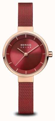 Bering | Frauensolar | poliertes roségold | rotes Netz | rotes Zifferblatt | 14627-363
