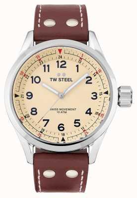TW Steel | herren | schweizer volante | cremefarbenes Zifferblatt | braunes Lederband | SVS101