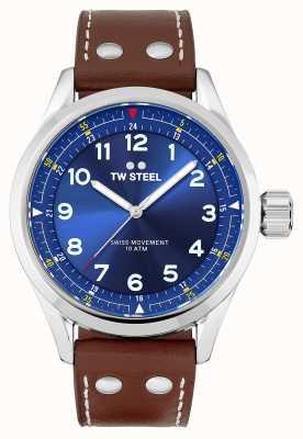 TW Steel | herren | schweizer volante | blaues Zifferblatt | braunes Lederband | SVS102