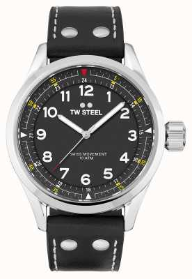 TW Steel | herren | schweizer volante | schwarzes Zifferblatt | schwarzes Lederband | SVS103