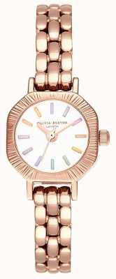 Olivia Burton | regenbogenfarbenes roségold armband | weißes Zifferblatt | OB16CC50