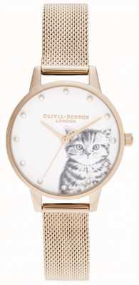 Olivia Burton Roségoldfarbene Masche des perligen dargestellten Kätzchens OB16WL88