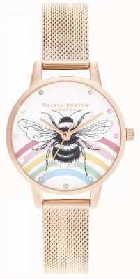 Olivia Burton Dargestellte Regenbogenbiene, Rosengoldmasche OB16WL90