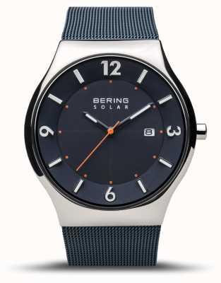 Bering | Männer | schlank solar | marineblau | Mesh-Armband | 14440-307