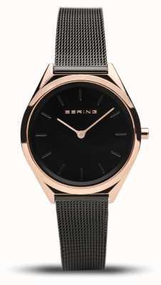 Bering | unisex | ultraflach | schwarzes mesh armband | 17031-166