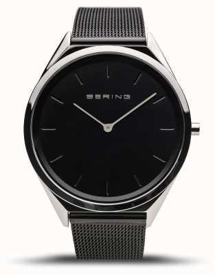 Bering | unisex | ultraflach | schwarzes mesh armband | 17039-102